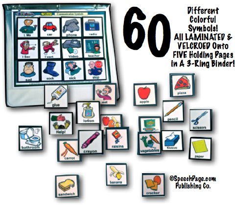 SpeechPage 60 Card Velcroed Communication Picture Symbols & BINDER Intro AAC Set